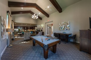 Two Bedroom Apartments for Rent in Conroe, TX - Clubhouse Pool Table & Kitchen View