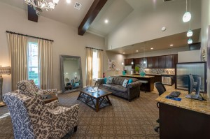 Two Bedroom Apartments for Rent in Conroe, TX - Clubhouse Seating Area & Kitchen View