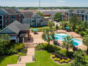 Three Bedroom Apartments for Rent in Conroe, TX -Aerial View of Community & Pool