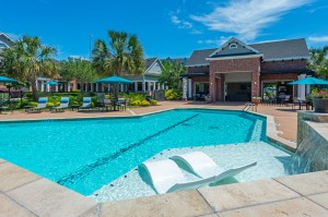 Three Bedroom Apartments for Rent in Conroe, TX -Pool & Patio Area with Clubhouse View (2)