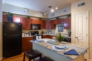 Three Bedroom Apartments for Rent in Conroe, TX - Model Kitchen with Island Breakfast Bar