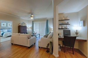 Three Bedroom Apartments for Rent in Conroe, TX - Model Living Room, Desk Nook & Bedroom View