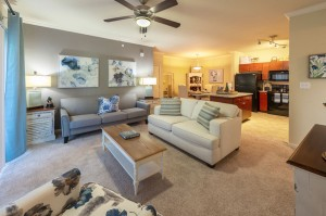 Two Bedroom Apartments for Rent in Conroe, TX - Model Living Room, Kitchen & Dining Room