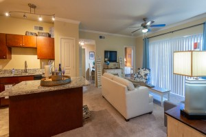 Two Bedroom Apartments for Rent in Conroe, TX - Model Living Room & Kitchen